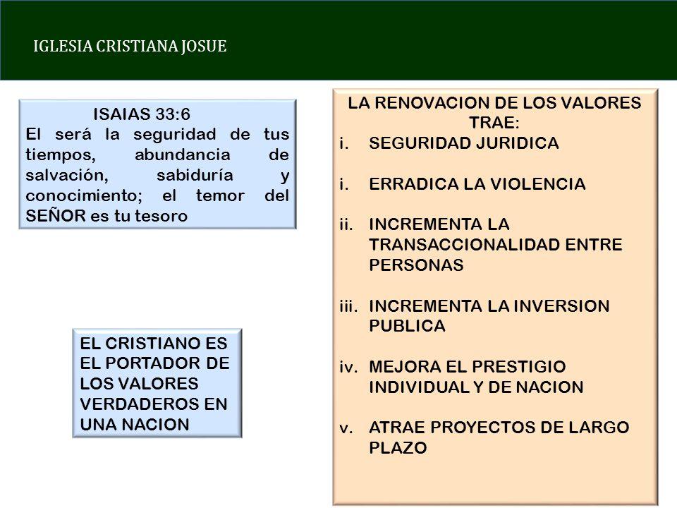 LA RENOVACION DE LOS VALORES TRAE: