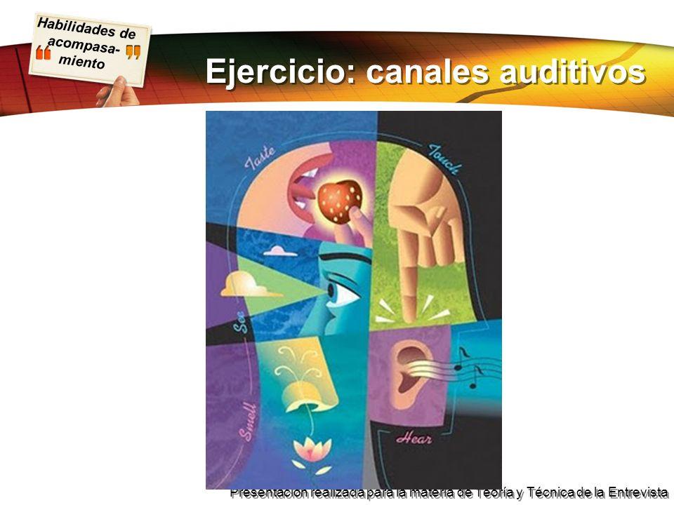 Ejercicio: canales auditivos