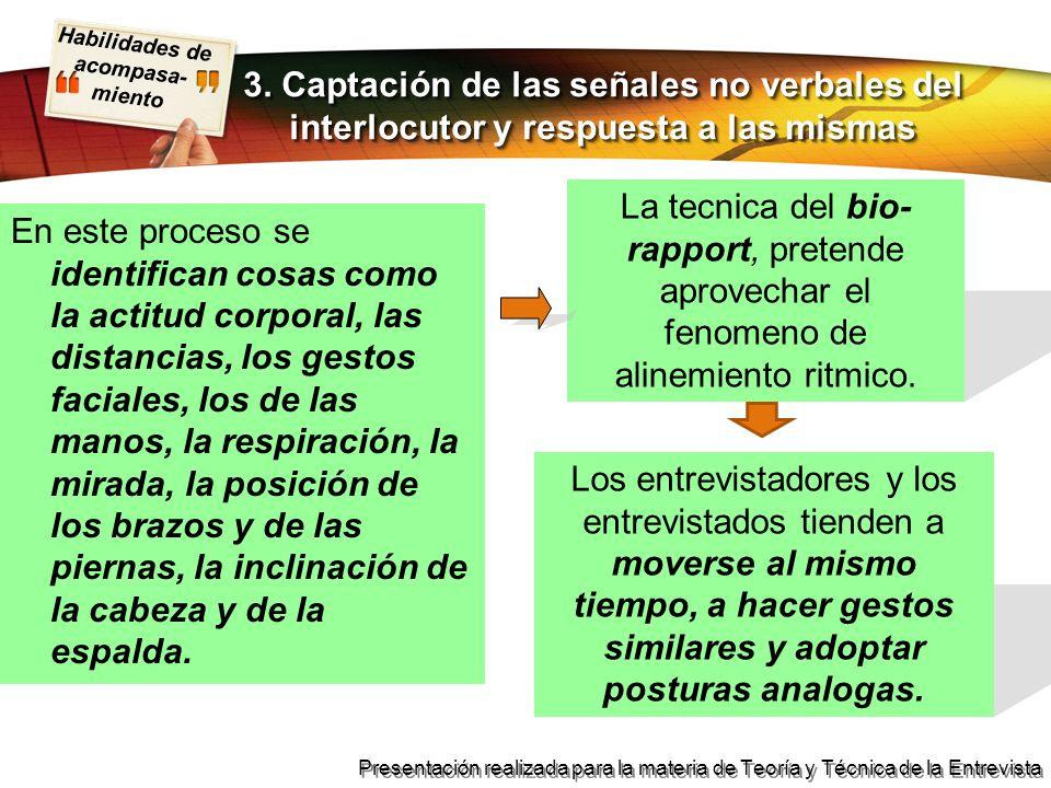3. Captación de las señales no verbales del interlocutor y respuesta a las mismas