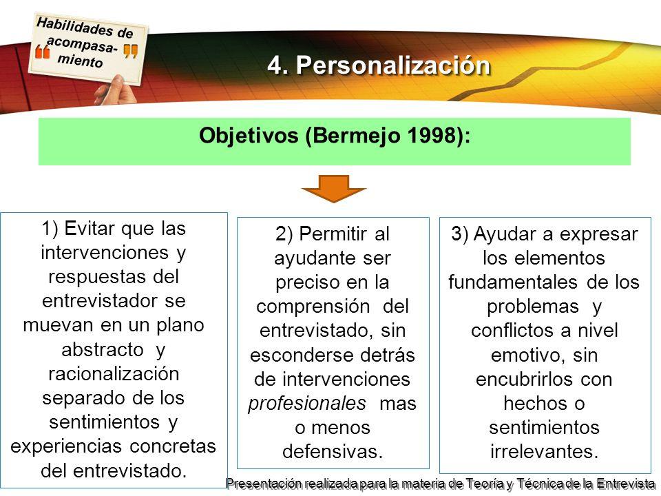 4. Personalización Objetivos (Bermejo 1998):