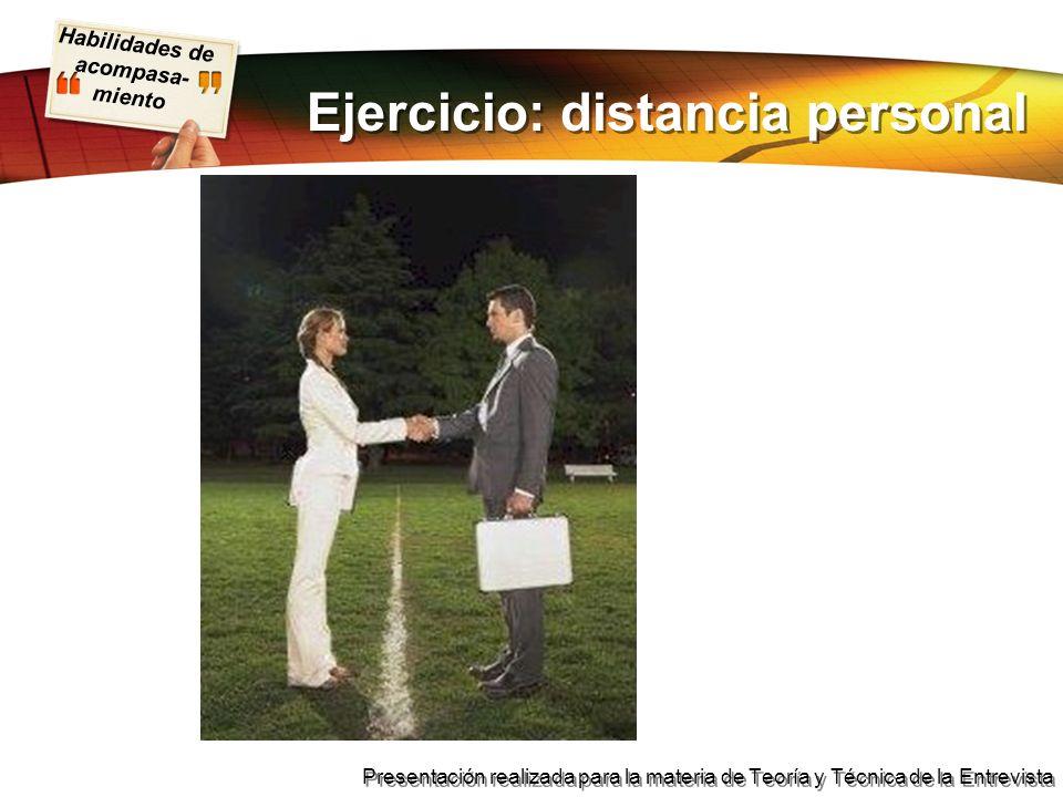 Ejercicio: distancia personal