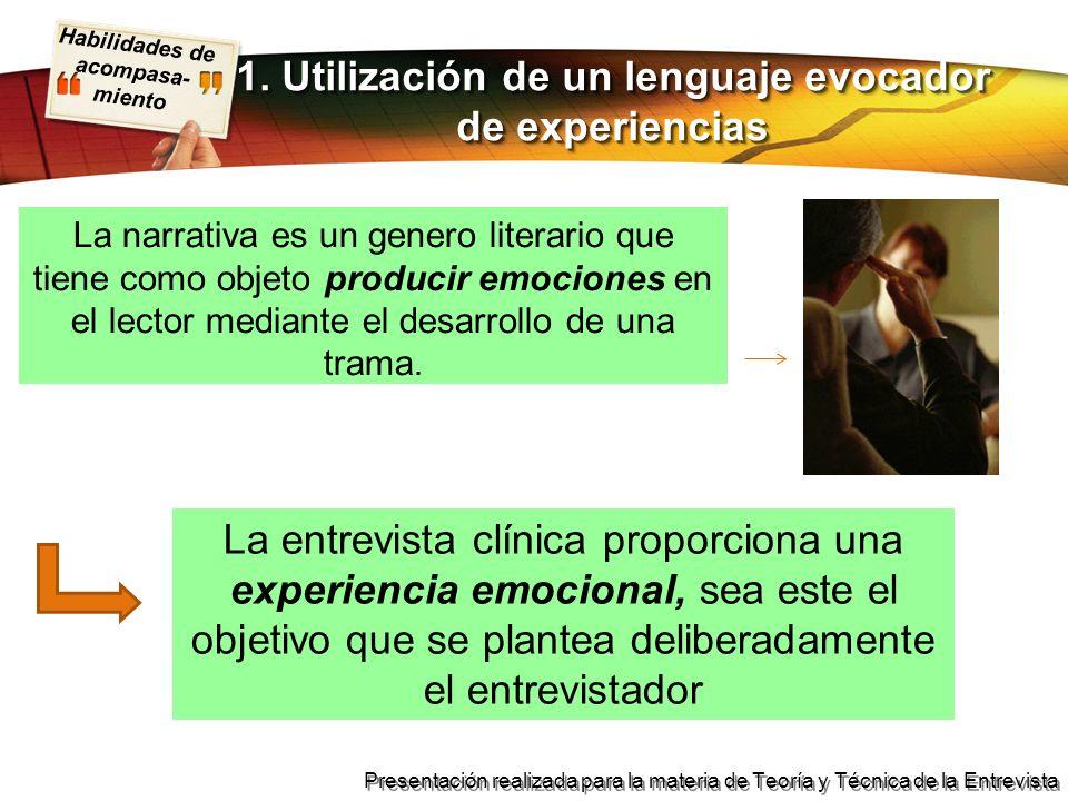 1. Utilización de un lenguaje evocador de experiencias