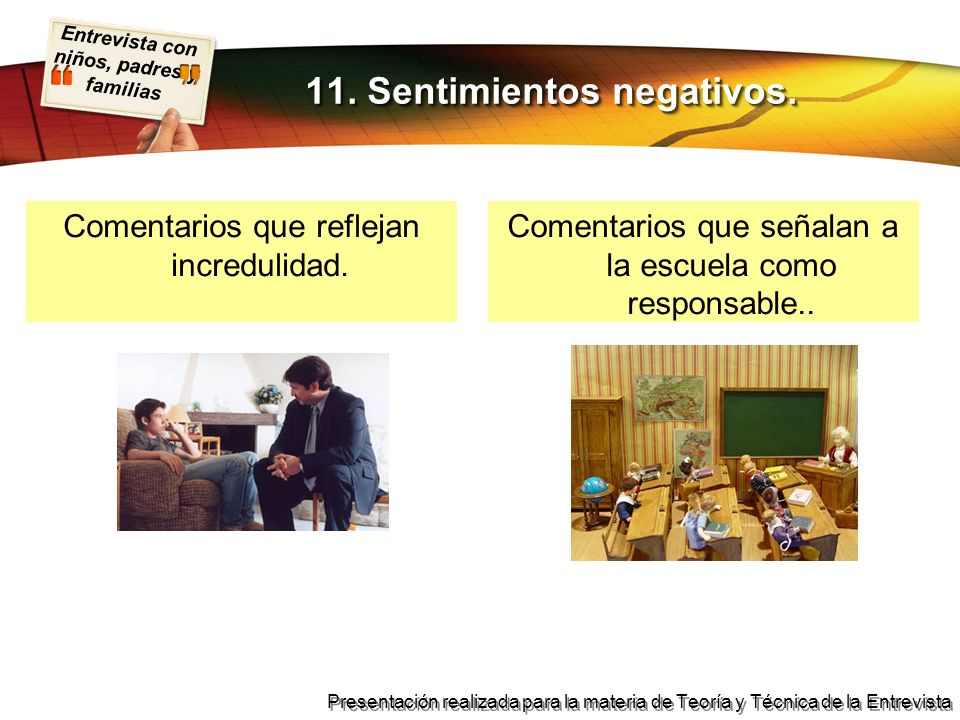 11. Sentimientos negativos.