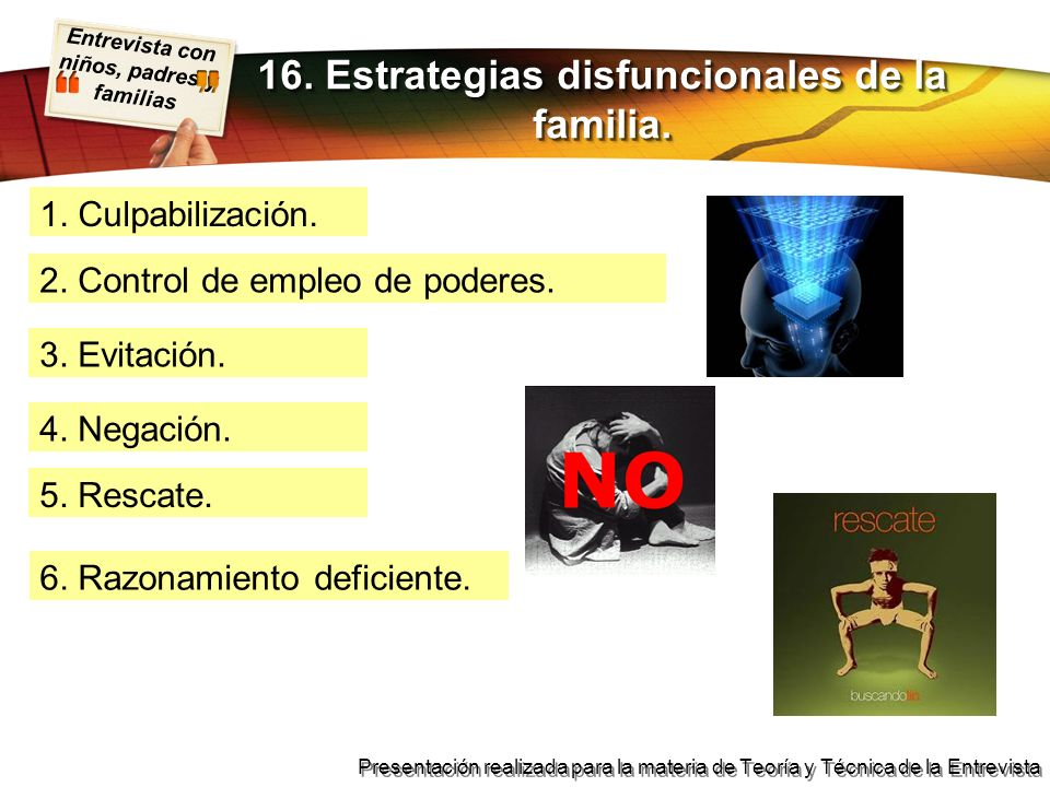 16. Estrategias disfuncionales de la familia.