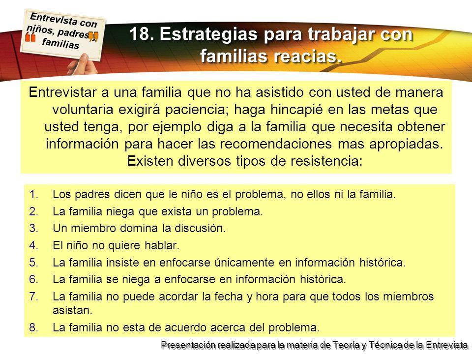 18. Estrategias para trabajar con familias reacias.