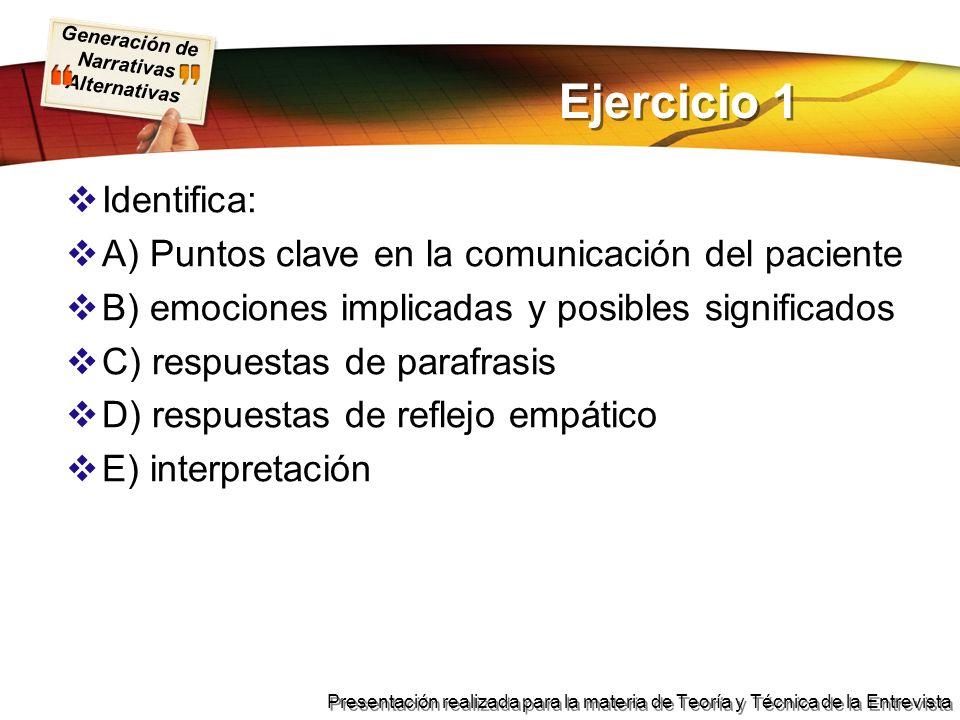 Ejercicio 1 Identifica: