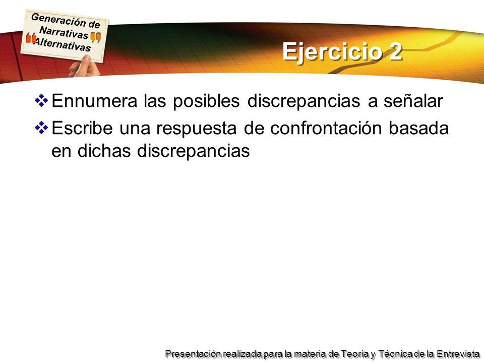 Ejercicio 2 Ennumera las posibles discrepancias a señalar