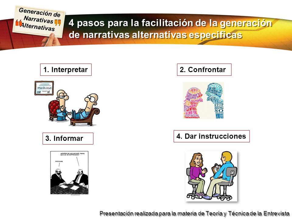 4 pasos para la facilitación de la generación de narrativas alternativas especificas