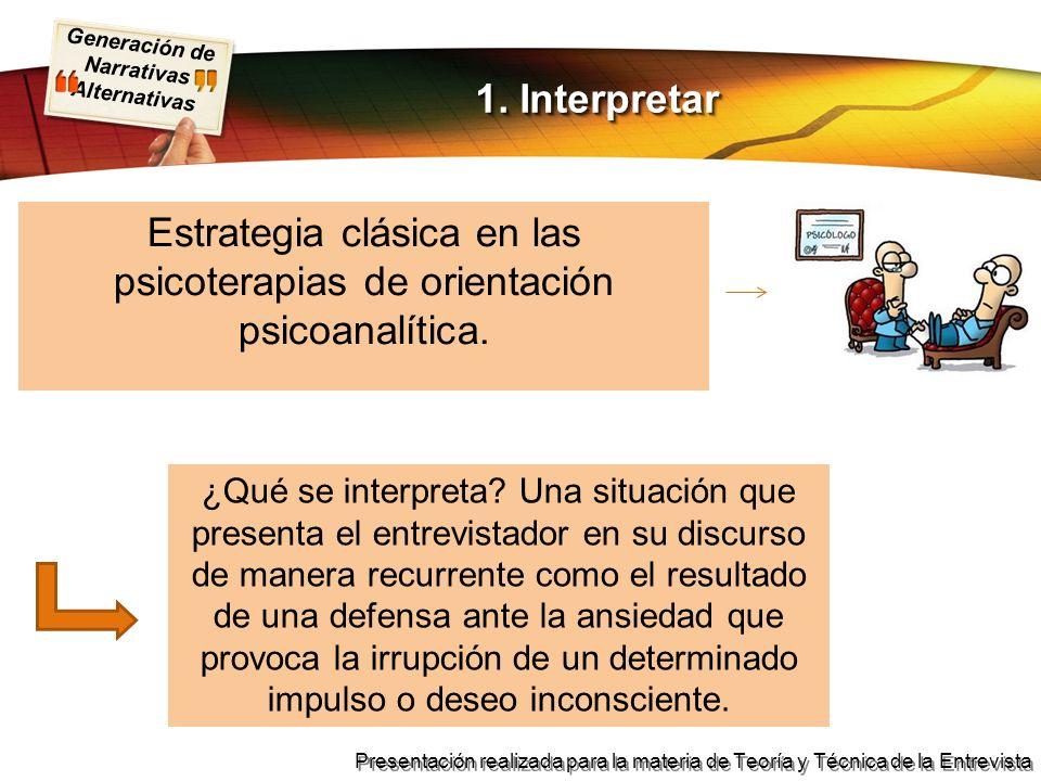 Estrategia clásica en las psicoterapias de orientación psicoanalítica.
