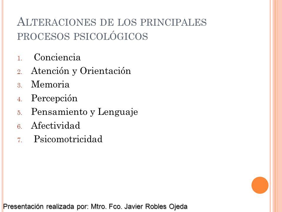 Alteraciones de los principales procesos psicológicos