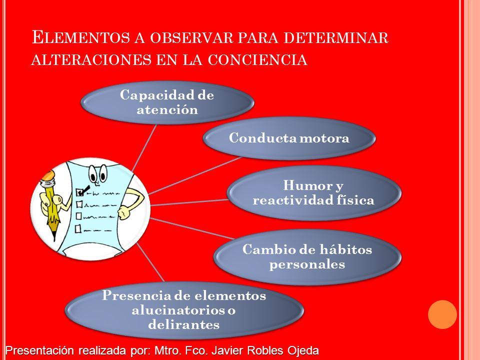 Elementos a observar para determinar alteraciones en la conciencia