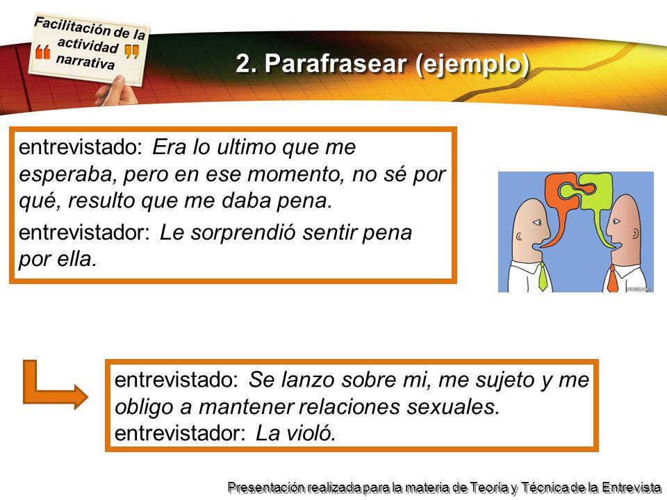 2. Parafrasear (ejemplo)