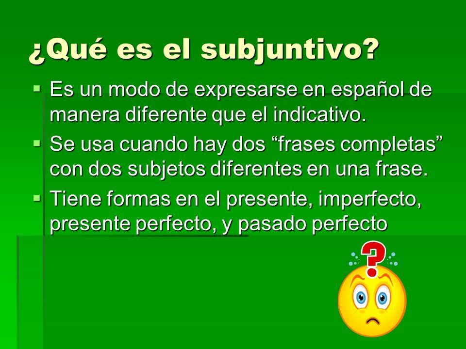 ¿Qué es el subjuntivo Es un modo de expresarse en español de manera diferente que el indicativo.