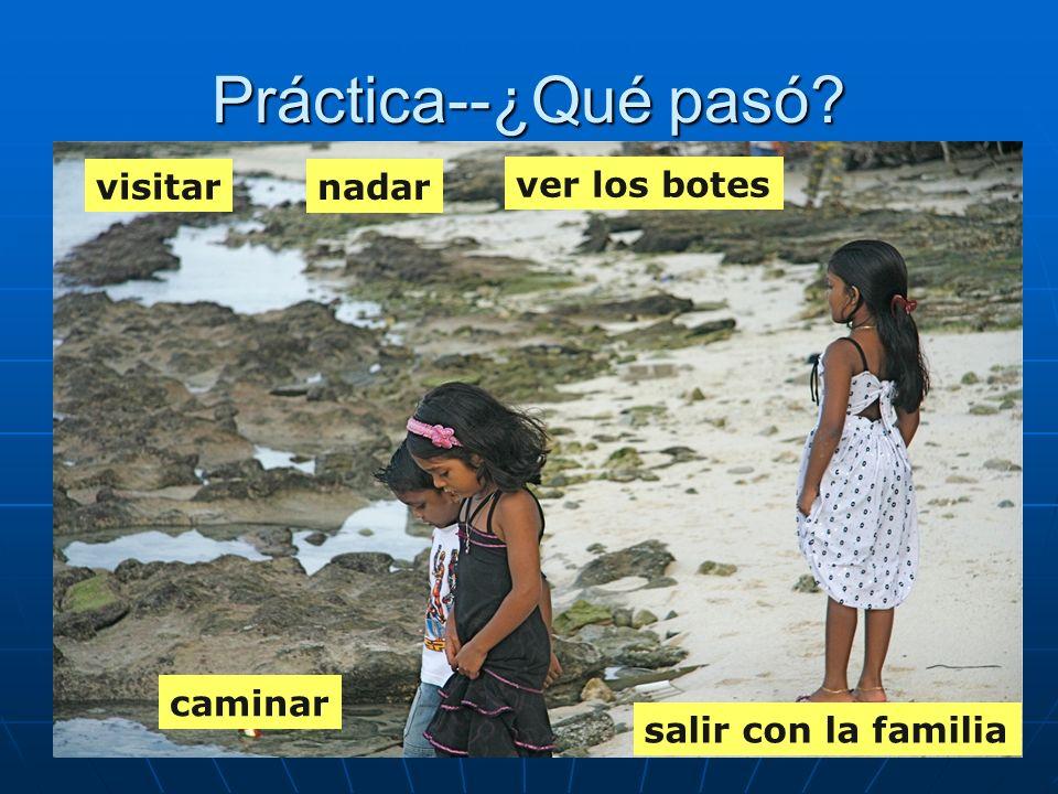 Práctica--¿Qué pasó visitar nadar ver los botes caminar