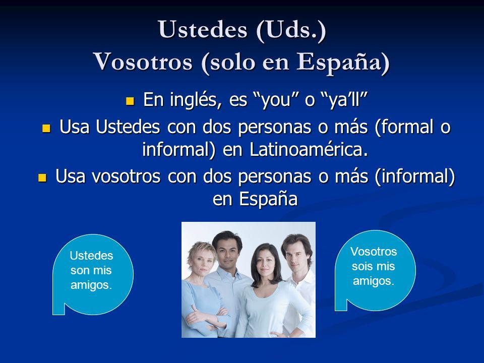 Ustedes (Uds.) Vosotros (solo en España)