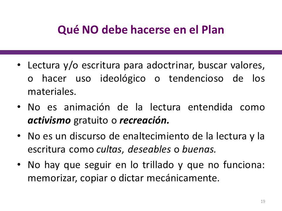 Qué NO debe hacerse en el Plan