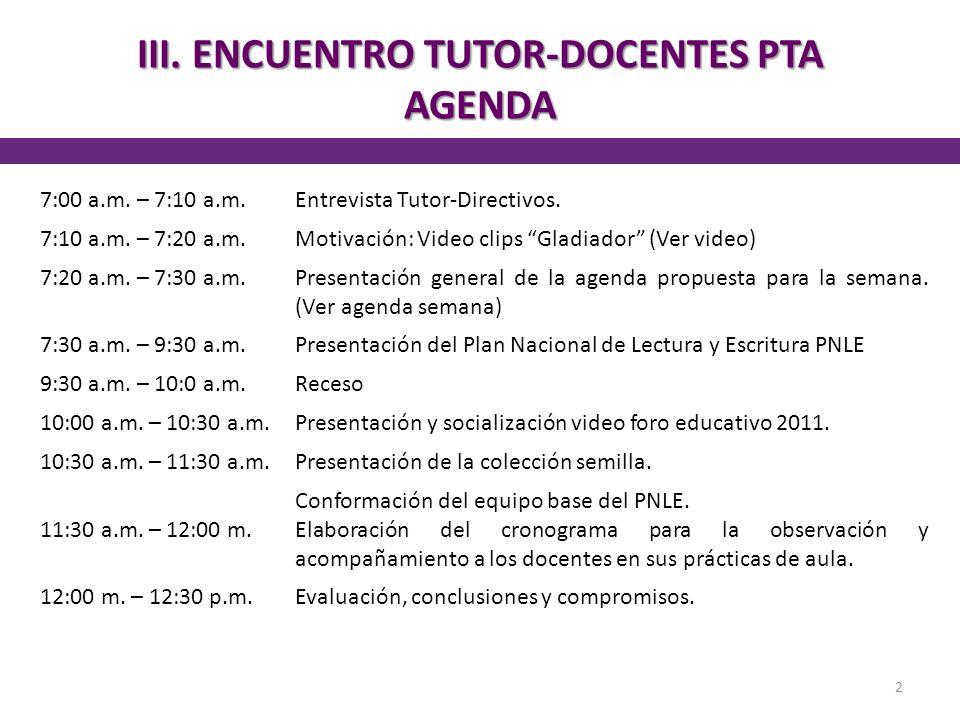 III. ENCUENTRO TUTOR-DOCENTES PTA