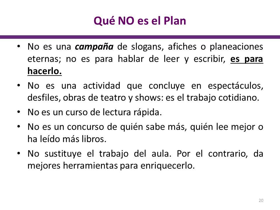 Qué NO es el Plan No es una campaña de slogans, afiches o planeaciones eternas; no es para hablar de leer y escribir, es para hacerlo.