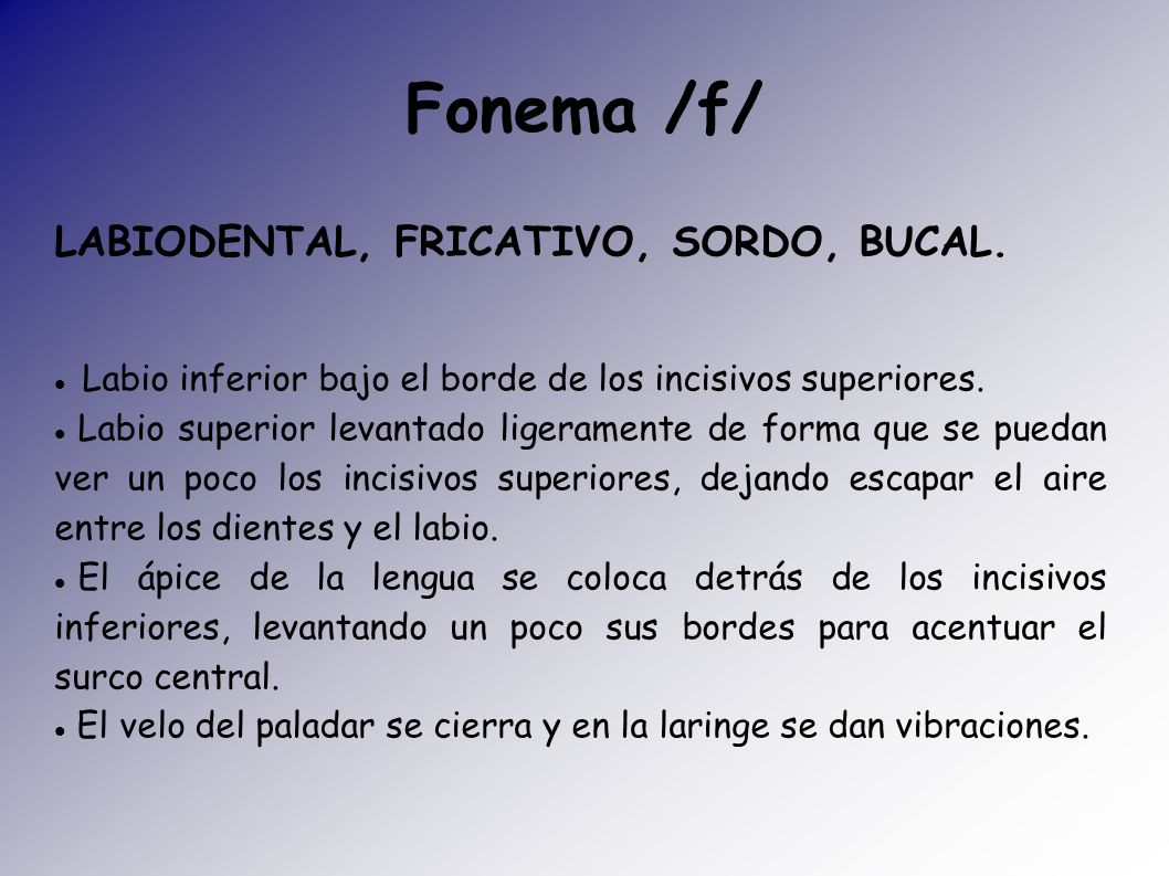 Fonema /f/ LABIODENTAL, FRICATIVO, SORDO, BUCAL.