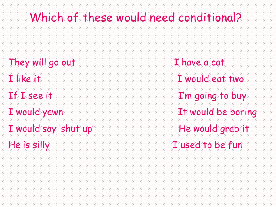 Which of these would need conditional