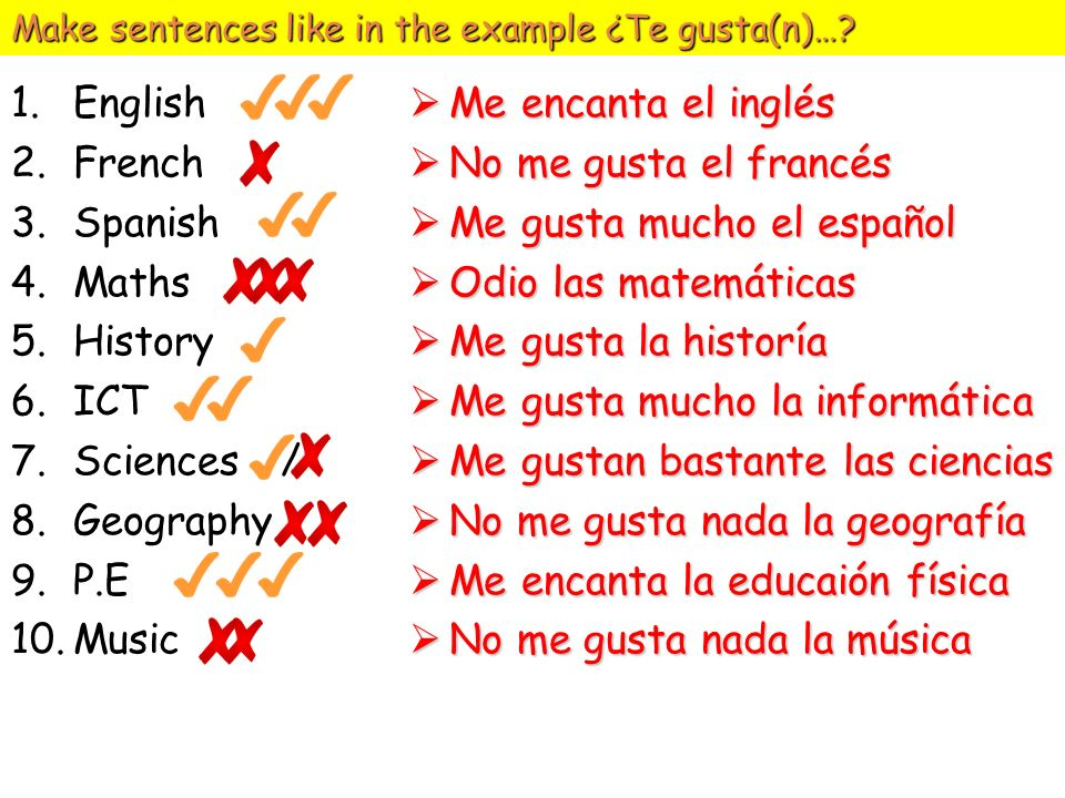 Make sentences like in the example ¿Te gusta(n)…