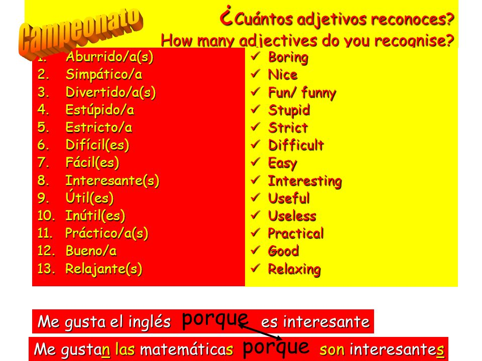 ¿Cuántos adjetivos reconoces How many adjectives do you recognise