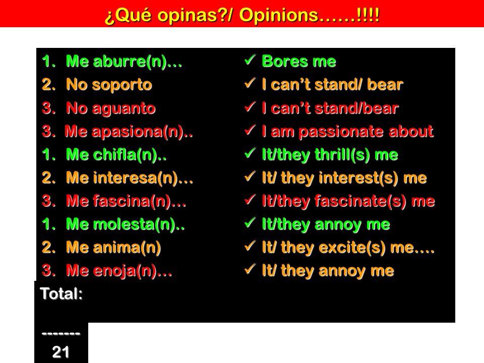 ¿Qué opinas / Opinions……!!!!