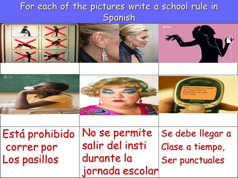 For each of the pictures write a school rule in Spanish