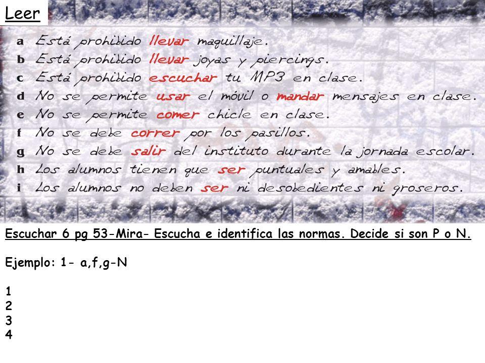 Leer Escuchar 6 pg 53-Mira- Escucha e identifica las normas. Decide si son P o N. Ejemplo: 1- a,f,g-N.