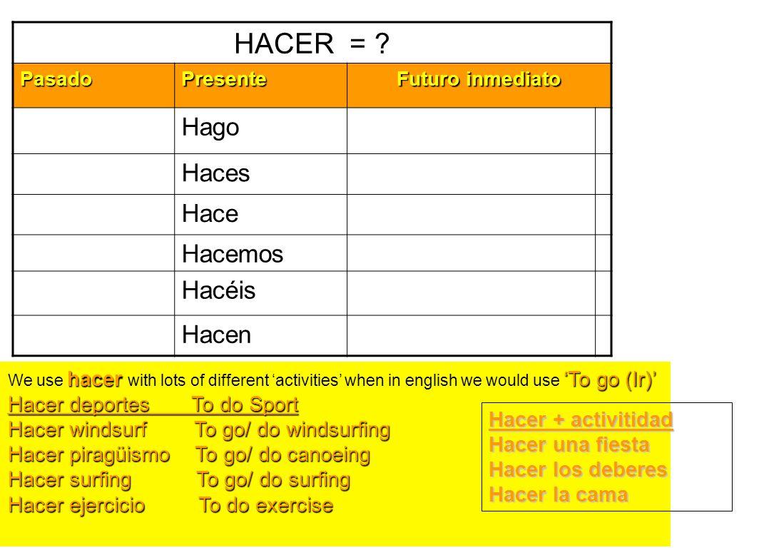 HACER = Hago Haces Hace Hacemos Hacéis Hacen