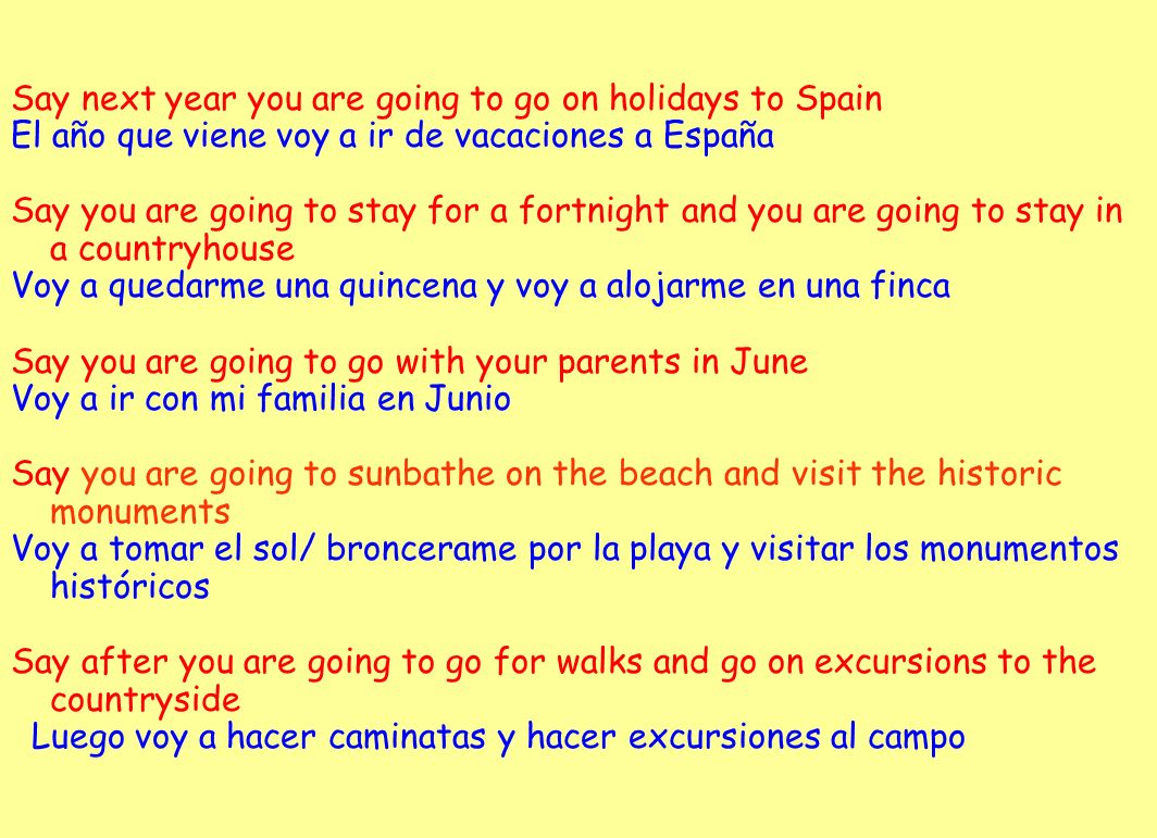 Say next year you are going to go on holidays to Spain