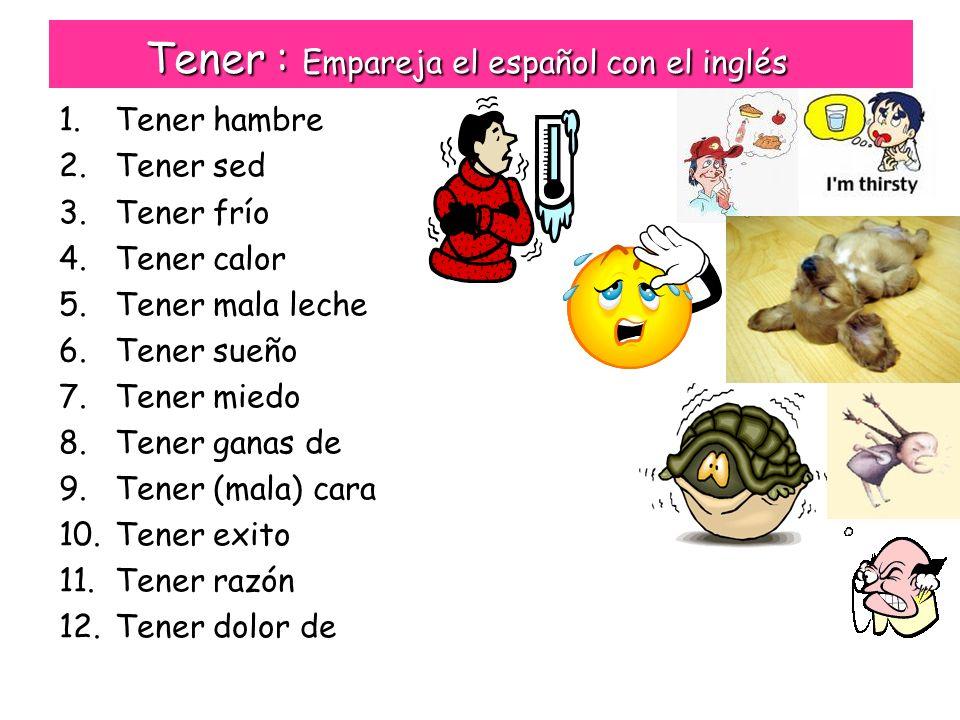 Tener : Empareja el español con el inglés