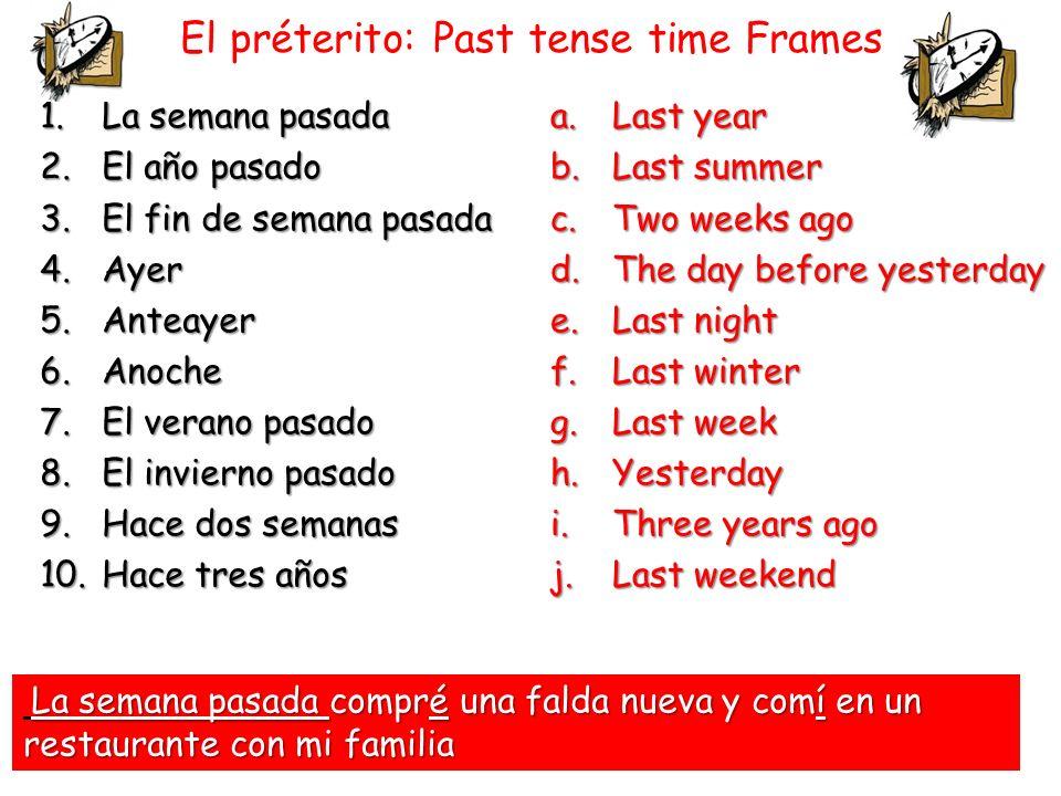 El préterito: Past tense time Frames