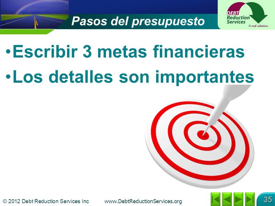 Escribir 3 metas financieras Los detalles son importantes