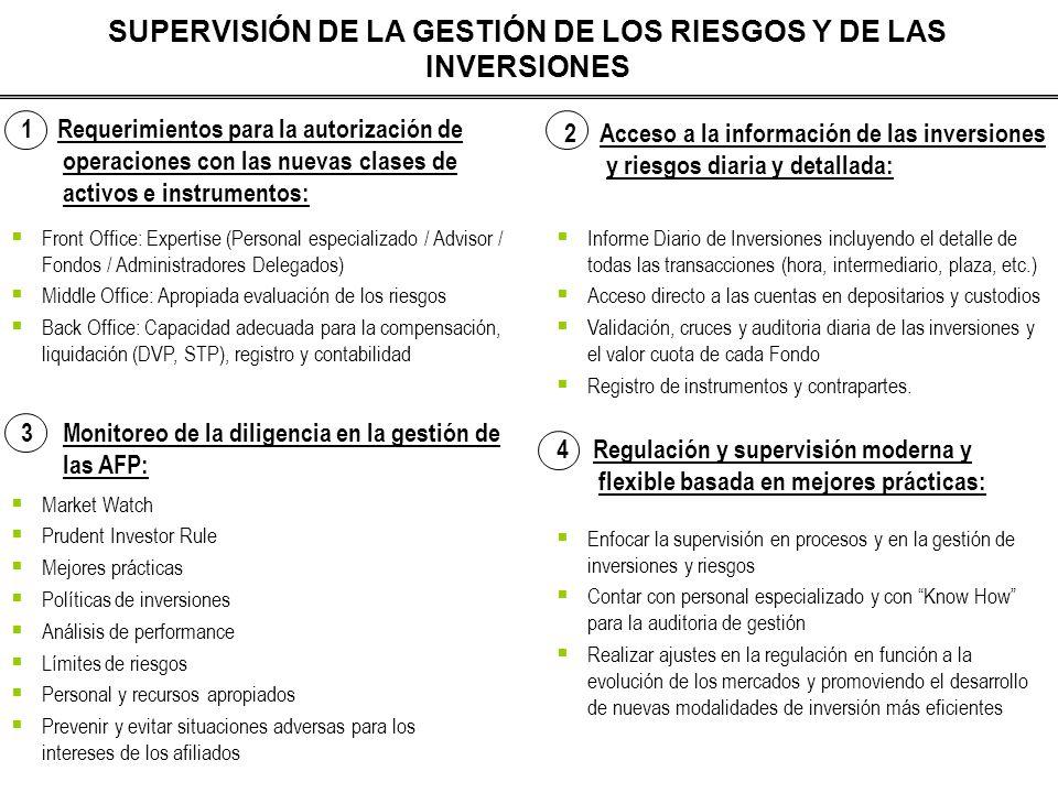 SUPERVISIÓN DE LA GESTIÓN DE LOS RIESGOS Y DE LAS INVERSIONES