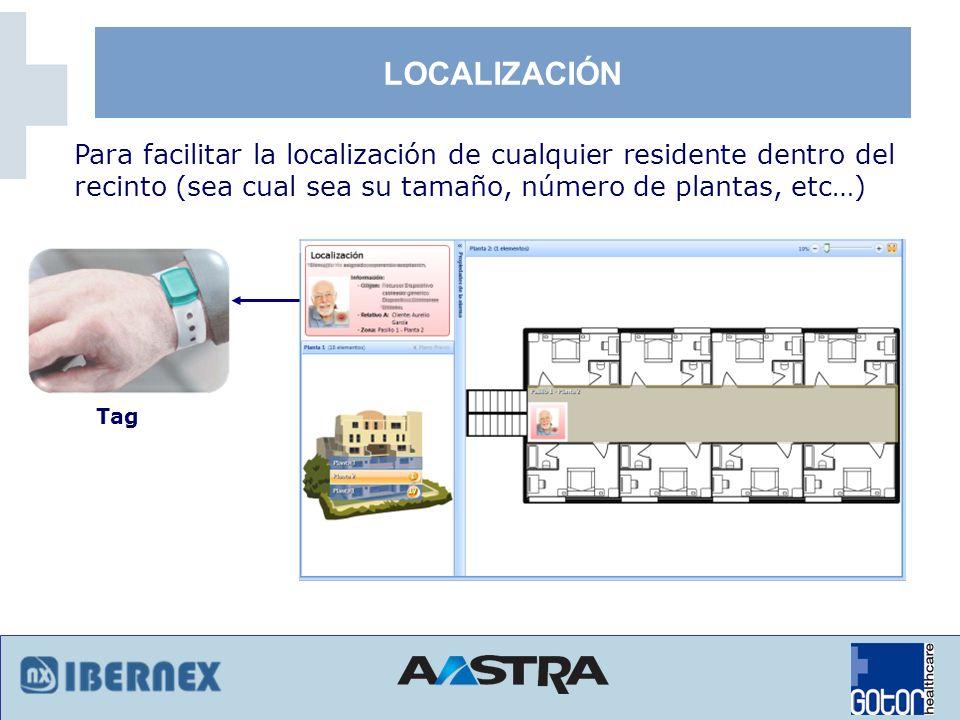 LOCALIZACIÓNPara facilitar la localización de cualquier residente dentro del recinto (sea cual sea su tamaño, número de plantas, etc…)
