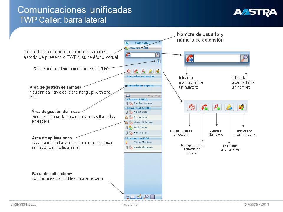 Comunicaciones unificadas TWP Caller: barra lateral