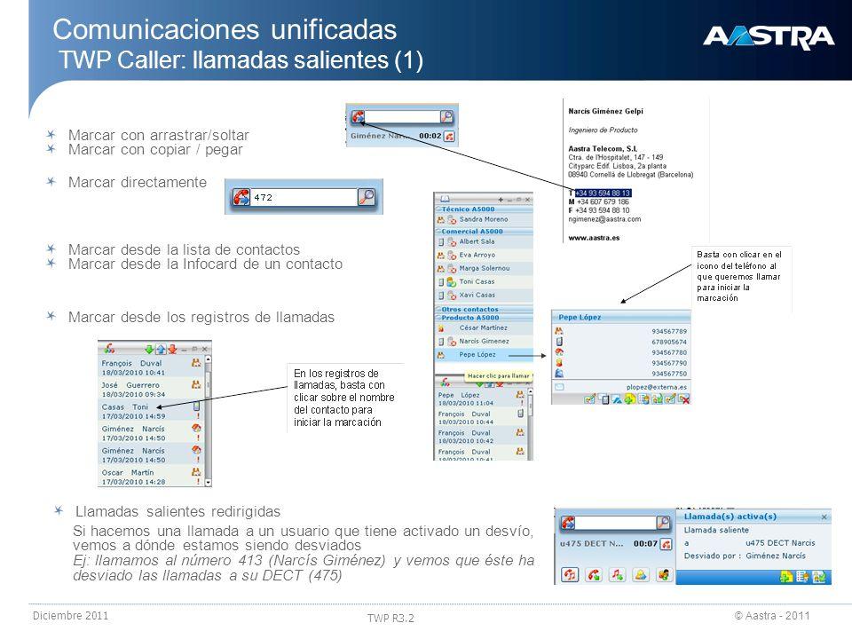 Comunicaciones unificadas TWP Caller: llamadas salientes (1)