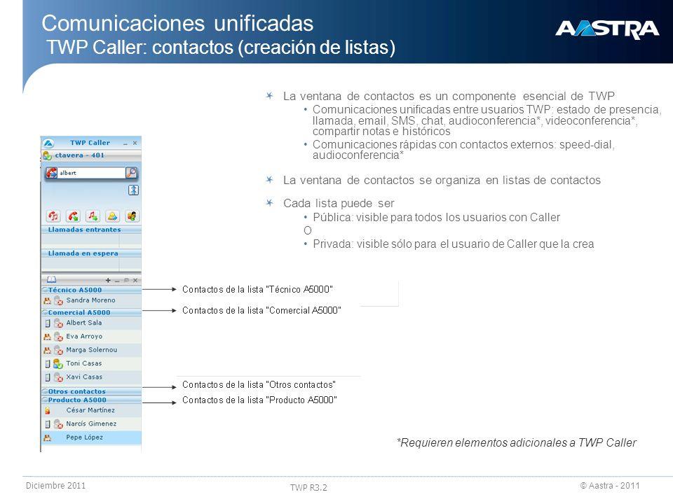 Comunicaciones unificadas TWP Caller: contactos (creación de listas)