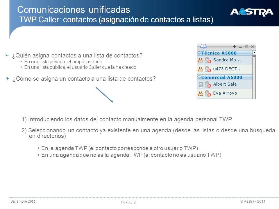24/03/2017 Comunicaciones unificadas TWP Caller: contactos (asignación de contactos a listas) ¿Quién asigna contactos a una lista de contactos