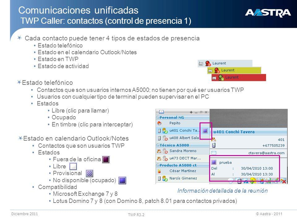 24/03/2017 Comunicaciones unificadas TWP Caller: contactos (control de presencia 1) Cada contacto puede tener 4 tipos de estados de presencia.