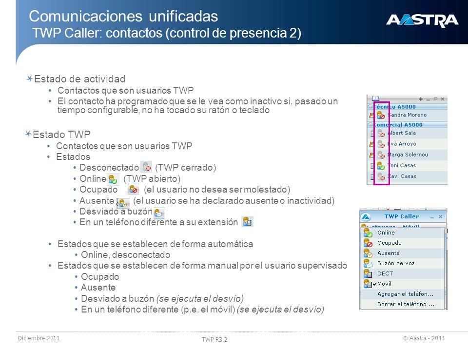 24/03/2017 Comunicaciones unificadas TWP Caller: contactos (control de presencia 2) Estado de actividad.
