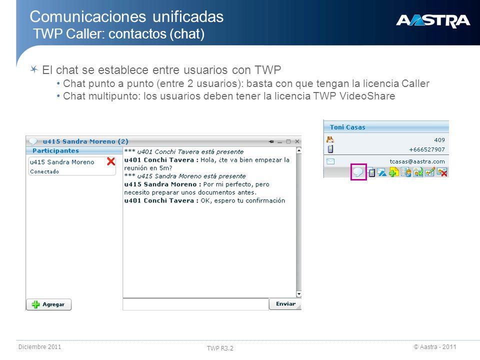Comunicaciones unificadas TWP Caller: contactos (chat)