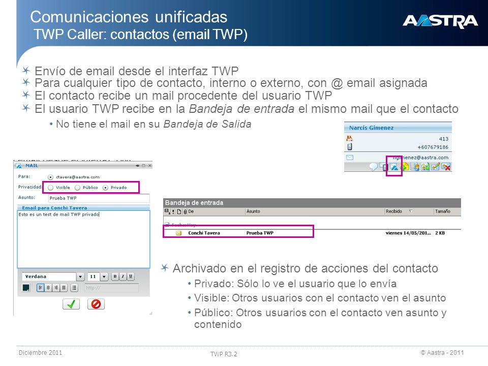 Comunicaciones unificadas TWP Caller: contactos (email TWP)