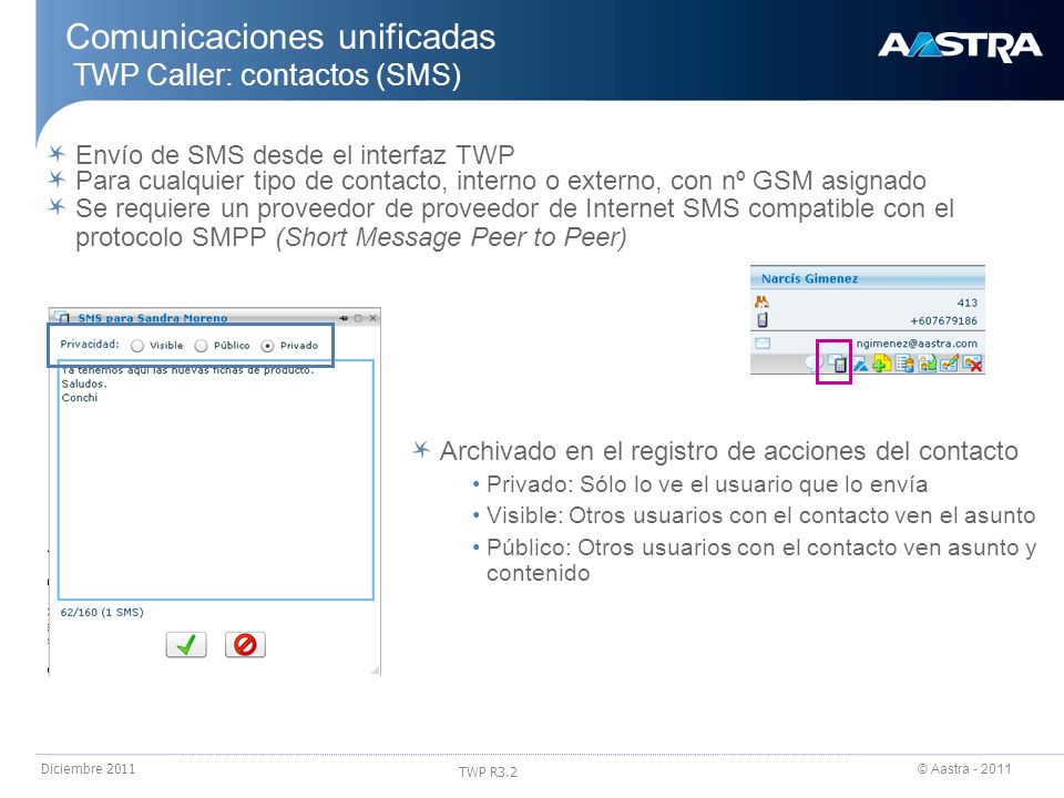 Comunicaciones unificadas TWP Caller: contactos (SMS)