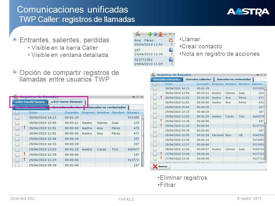 Comunicaciones unificadas TWP Caller: registros de llamadas
