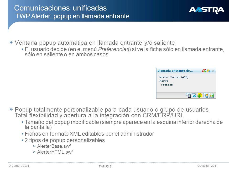 Comunicaciones unificadas TWP Alerter: popup en llamada entrante