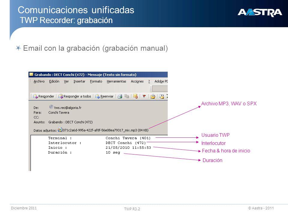 Comunicaciones unificadas TWP Recorder: grabación