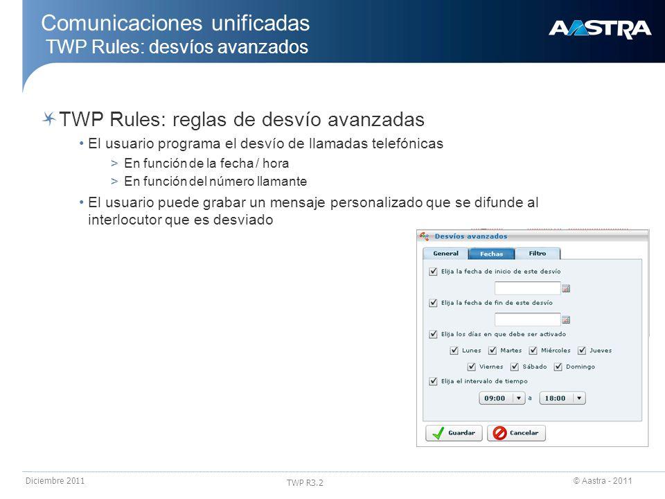 Comunicaciones unificadas TWP Rules: desvíos avanzados