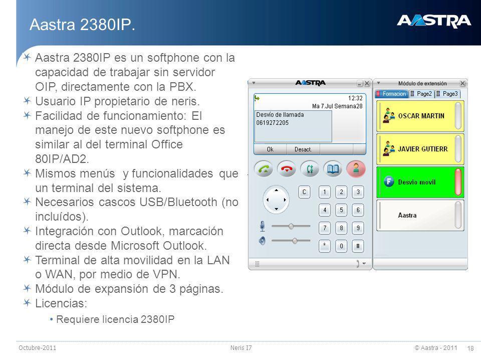 24/03/2017 Aastra 2380IP. Aastra 2380IP es un softphone con la capacidad de trabajar sin servidor OIP, directamente con la PBX.